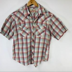 Wrangler Plaid Short Slv Snap Front Shirt Large